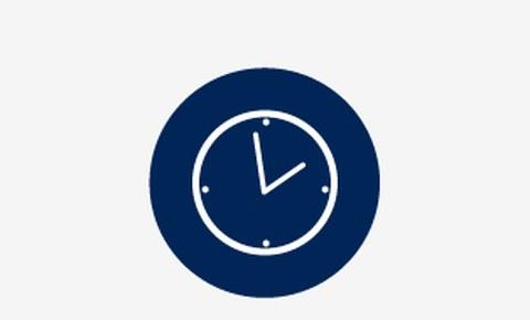 Grafik: in einem blauen Kreis ist eine weiße Uhr zu sehen.