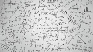 """Zu sehen ist ein Wallpaper zum Thema """"Mathematik"""" mit vielen verschiedenen Formeln und Skizzen."""