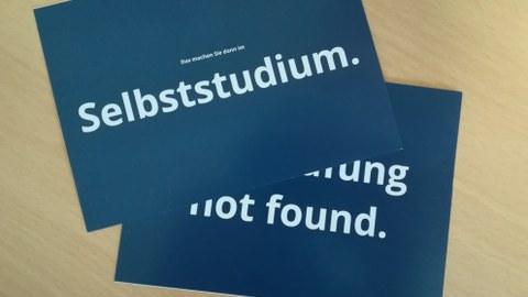 """Das Bild zeigt die vom MINT-Kolleg erstellten Postkarten mit verschiedenen Sprüchen, z.B. """"Das machen Sie dann im Selbststudium.""""."""