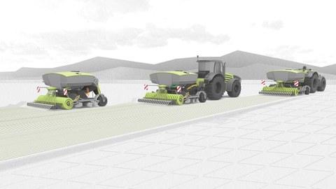 Auf der 3D-Garfik sieht man drei grau-grüne Traktoren mit Ackerpflügen über ein Feld fahren.