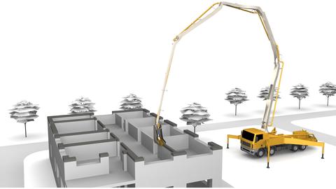 Die 3D-Zeichnung zeigt ein Haus, welches mit Beton 3D gedruckt wird. Links sieht man den Rohbau des Hauses, recht einen gelbes Kranfahrzeug.