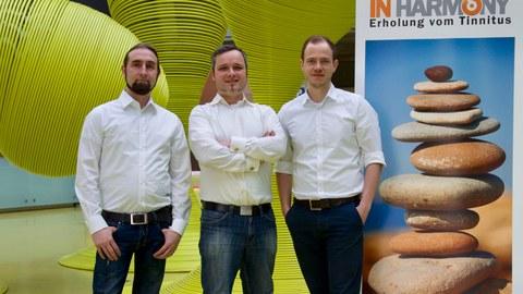 Foto vom Gründerteam von »IN HARMONY«: Abgebildete Personen von links nach rechts: Matthias Lippmann, Martin Spindler und Steven Mack.