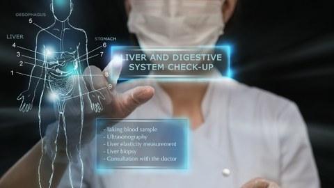 Das Bild zeigt eine Collage aus Foto und 3D-Visualisierung zum Thema Digitale Gesundheit.