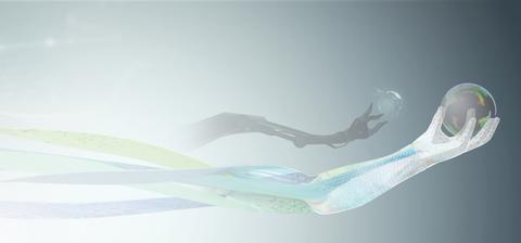 Visualisierung einer Hand mit intelligenten Materialien.