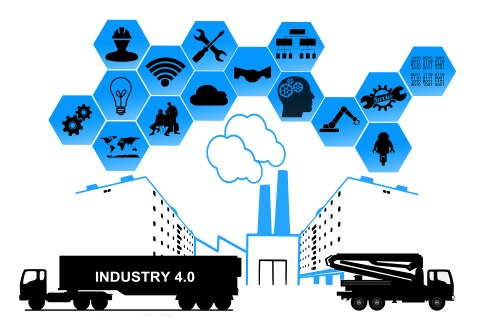 The drawing illustrates the topic Industry 4.0. In the middle of the picture you can see an industrial plant, with two trucks to the left and right and a honeycomb structure above the building with serveral symbols.