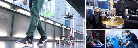 Collage aus vier Fotos. Links folgt ein Roboter einem Mann. Rechts oben ist ein Demonstrator aus der Hochfrequenztechnik abgebildet. Links darunter richtet eine Person eine Probe für den 3D-Scan aus.Rechts daneben schraubt eine Person an einem Kegelprüfs