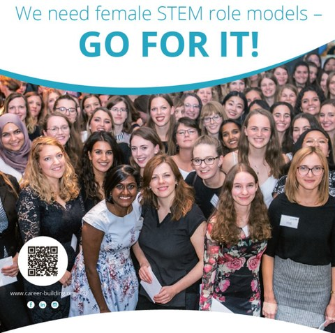 """Big crowd of women smiling to the camera. The heading says """"We need female STEM role models. Go for it."""""""