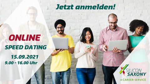 Picture with inscription: Online Speed Dating, 15.09.2021, 9:00-16:00, Register now! In the background, 6 men and women stand in a row and look at the laptops they are holding.