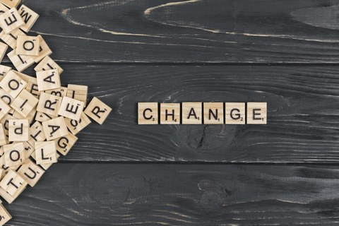 cthe word changelies in wooden letters on a wooden background