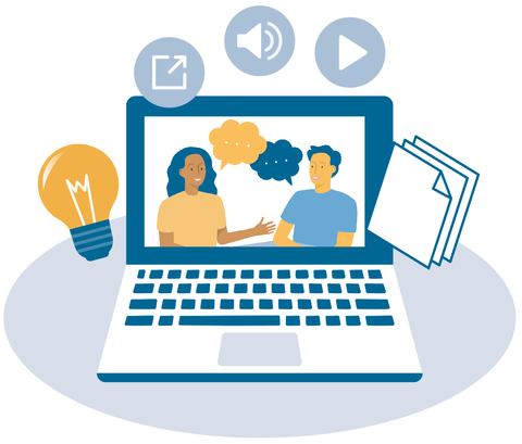 The graphic shows a laptop with two people talking to each other on the desktop. Symbols circle around the laptop, from left to right: light bulb, document arrow, loudspeaker, play button, documents.