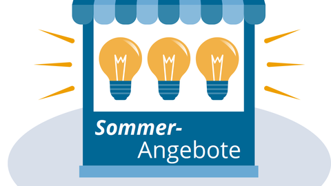 """The graphic shows a sales cart with three light bulbs hovering in the center, with """"Summer Deals"""" written underneath."""