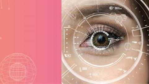 Das Bild fokussiert auf das linke Augel einer weiblichen Person mit einem übergelagerten Fokus-Kreis.