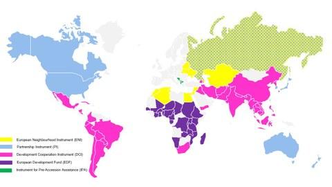 Weltkarte mit Förderländern