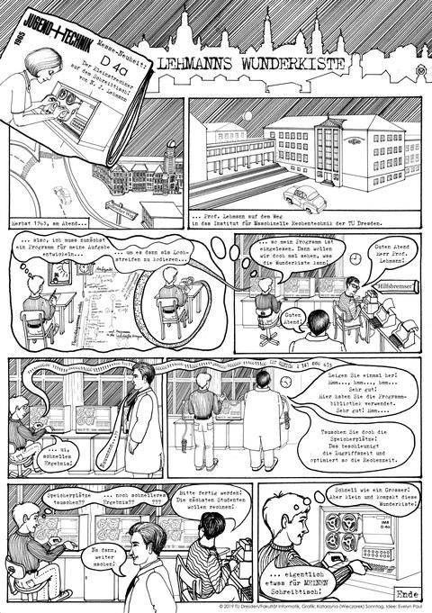 Comic zum D 4a – erstellt anlässlich des 50 jährigen Jubiläums des Studiengangs Informatik 2019_2