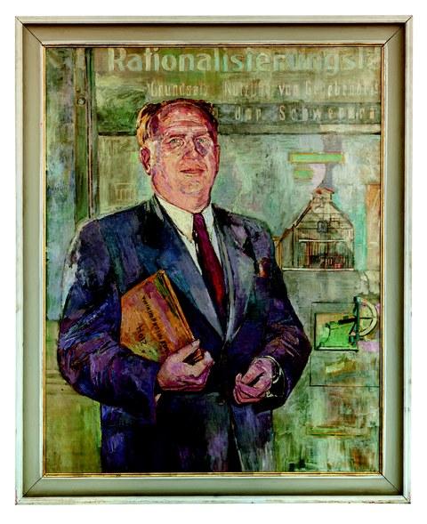 Ernst Hassebrauk: Rektor Professor Kurt Koloc, 1950; Öl auf Leinwand; 120 × 95 cm; Kunstbesitz der TU Dresden