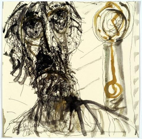 Federzeichnung, Aquarell von Horst Leifer, 2001