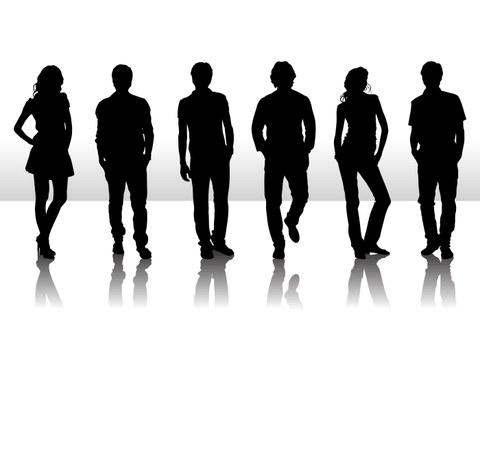 Schatten von Personen als potentielle Bewerber