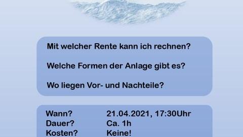 Flyer für Seminar Altersvorsorge - ein Boot, dass über stürmische See fährt