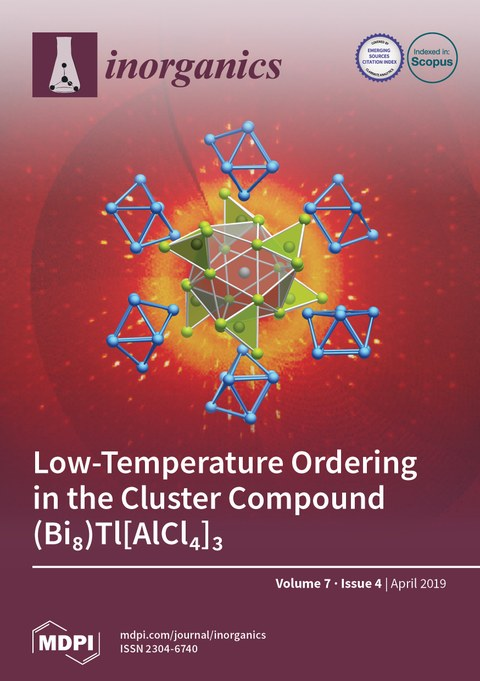 The cover shows sections of the X-ray diffraction pattern and the crystal structure of the low-temperature form of the new bismuth-cluster compound (Bi8)Tl[AlCl4]3.