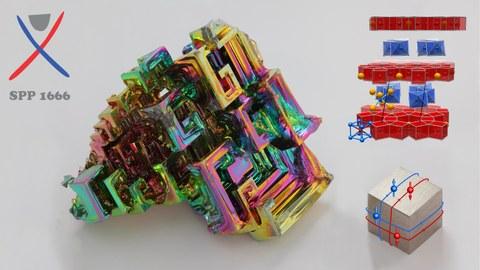 bearbeitetes Foto eines Bismutkristalls und -würfels