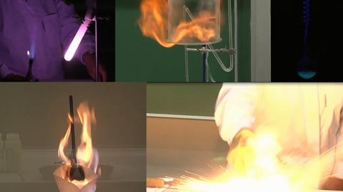 Zusammenstellung verschiedener brennender und leuchtender chemischer Experimente