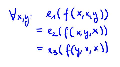 Pseudo weak near unanimity of arity 3