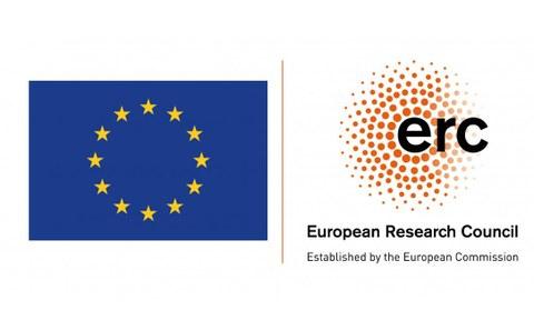 Logo des ERC und EU-Flagge
