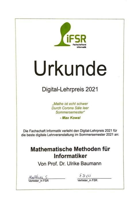 Lehrpreis der Fachschaft  Informatik 2021