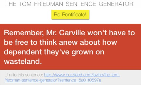Example from Tom Friedman Sentence Generator