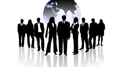 Geschäftsleute vor Weltkugel