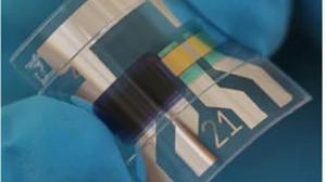 Abbildung: flexibler organischer Fotodetektor mit selektiver Photoantwort bei 1000 nm.