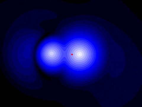 electron density of laser excited h2+