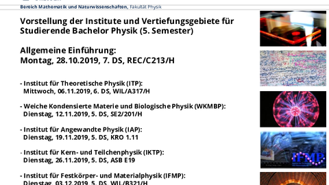 Informationsveranstaltung Institute Bachelor