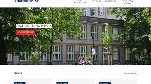 Neue Webseite der Fachrichtung Physik