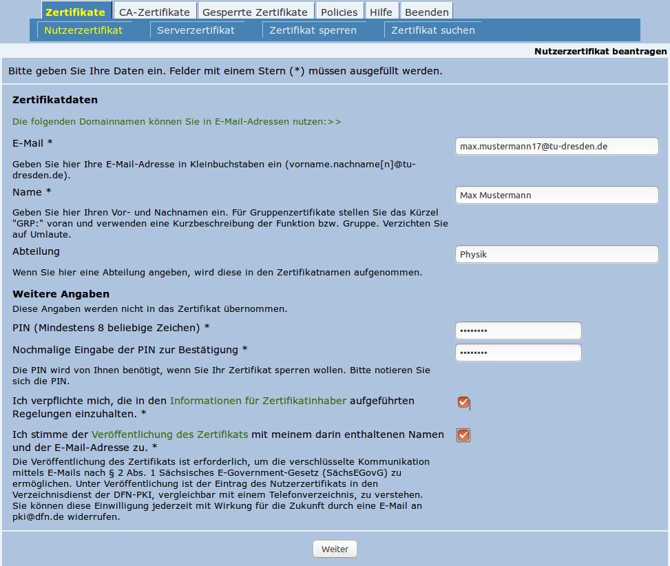 Nutzerzertifikat Für E Mail Signatur Und Verschlüsselung Sowie