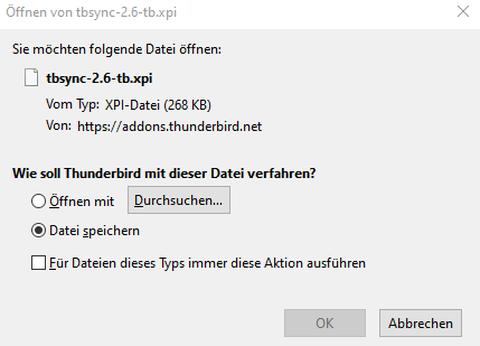 Thunderbird-Add-on tbsync