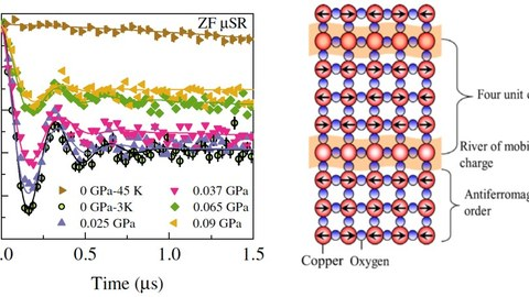 Myonen-Spinpolarisation als Funktion der Zeit in La2-xBaxCuO4  mit x= 0.115 bei 3 Kelvin und verschiendenen uniaxialen Verzerrungen (linkes Diagramm); Darstellung von magnetischer Streifenordnung: regelmäßige nanoskalige  Anordnung von antiferromagnetischen und supraleitenden Streifen (rechtes Diagramm).