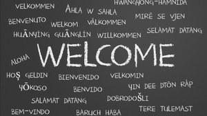 """Die Darstellung zeigt eine schwarze Tafel. An diese wurde mit weißer Kreide groß das Wort """"Welcome"""" in die Mitte geschrieben. Drum herum stehen viele kleinere Begriffe. Sie sind die Übersetzung dieses Wortes in verschiedenen Sprachen."""