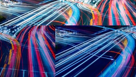 abstracte farbige Datenautobahnen