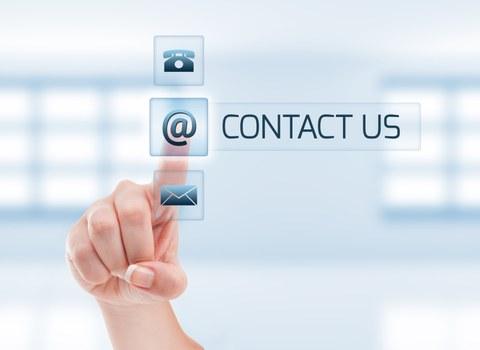 Auswahl an Kontaktmöglichkeiten Aufruf zum Kontaktieren