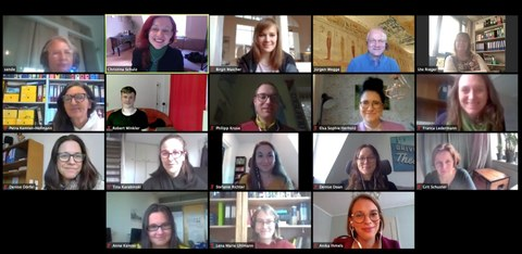 Fotos aller Beteiligten im Videochat des digitalen Meetings