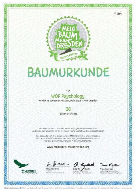 Urkunde für 20 Baumspenden