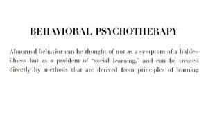 Satz über Behaviorale Psychotherapie