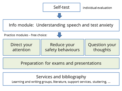 Overview graphic of the OPTA procedure and modules. First the self-test with individual evaluation, then the info module, then free choice from the practice modules. Details to the modules are given in the text below.