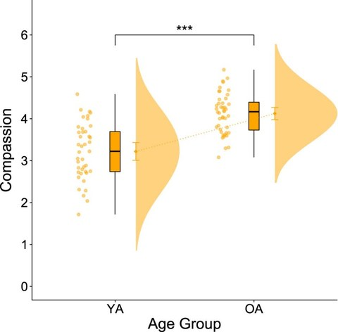 Graph showing distribution accoding to age and compassion