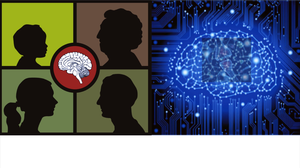 Figure of four heads of people of different age groups and a picture of an activated brain