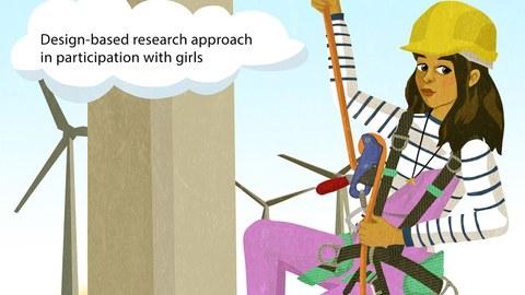 Zeichnung eines Mädchens, welches mit Ausrüstung an einem Windrad hinauf klettert.
