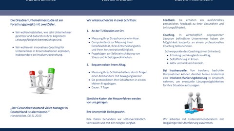 Flyer der Dresdner Unternehmerstudie: Stress - Insolvenz - Coaching
