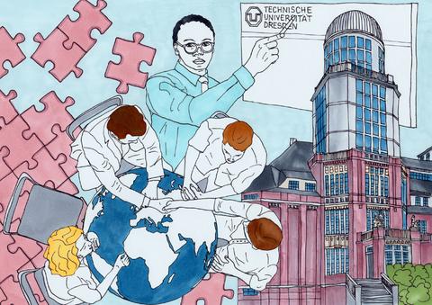 Im Hintergrund sind Puzzleteile und ein Gebäude der TU Dresden. Ein Mann zeigt auf das TU-Logo. Im Vordergrund sitzen 4 Menschen um eine Weltkugel.