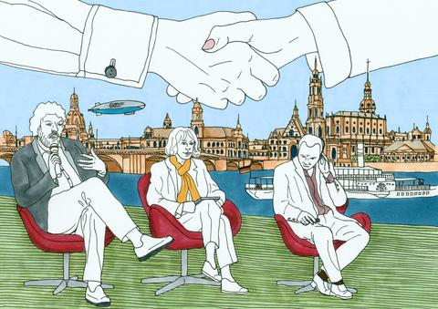 Im Hintergrund Silhouette der Altstadt Dresden mit Elbe. Im Vordergrund sitzen 2 Männer und eine Frau in Diskussionshaltung. Darüber sind 2 Hände im Handschlagmodus.